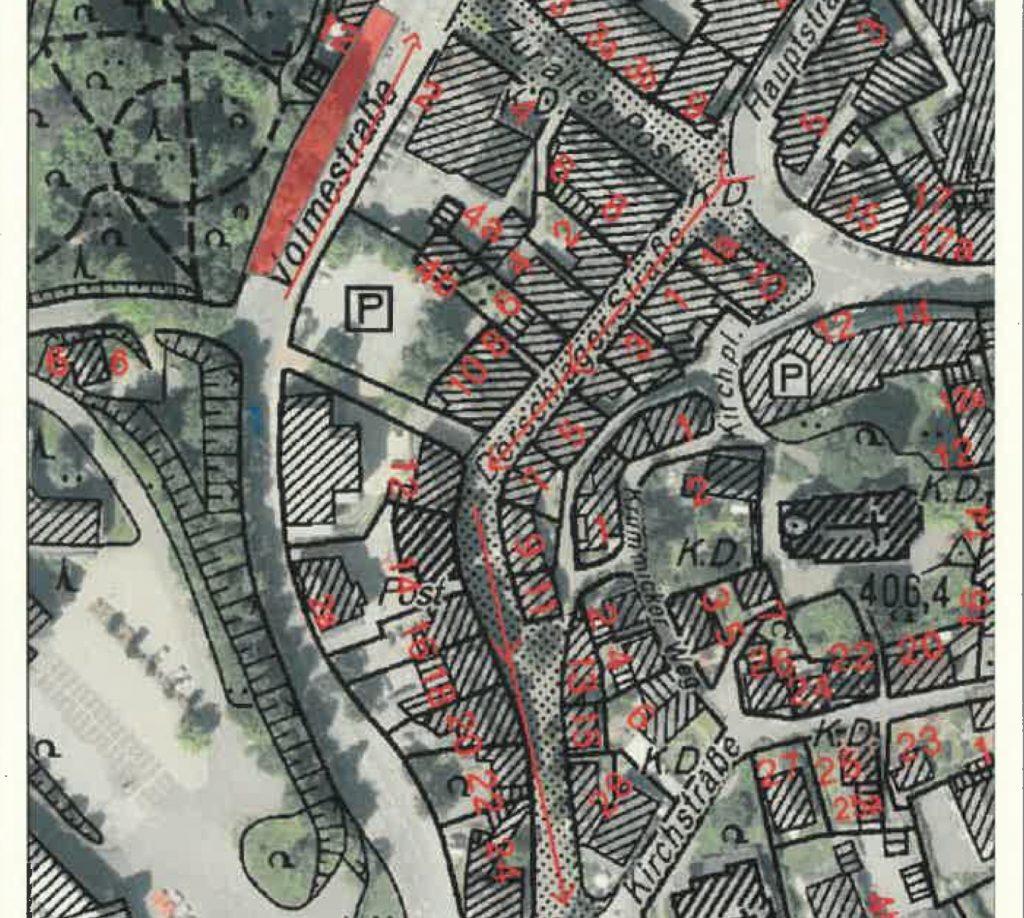 Der rote Bereich stellt in der Volmestraße den zu gewinnenden Parkraum da. Die Pfeile sollen die Fahrtrichtung markieren.