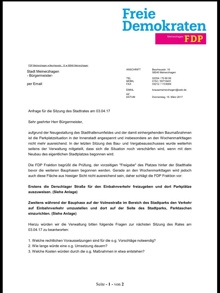 FDP Anfrage zum Parkraum in Meinerzhagen im Wortlaut